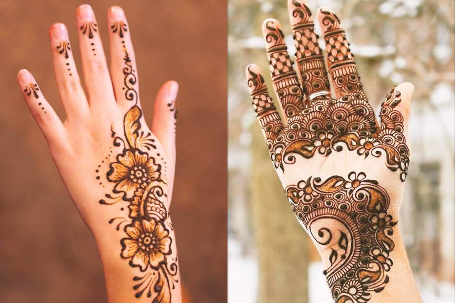 Two female hands, one with Moroccan henna and the other one with Mehndi.