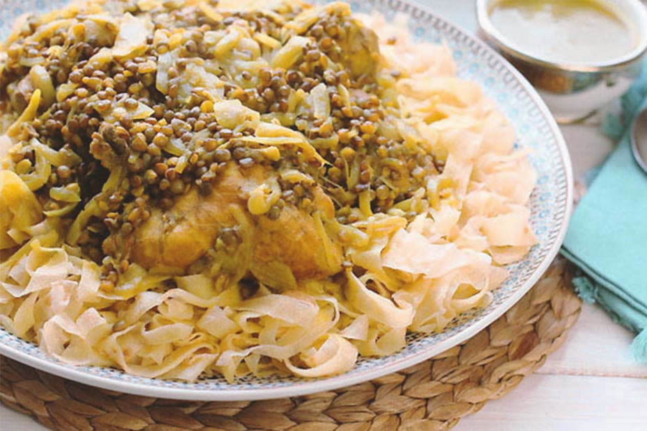 Moroccan chicken Rfissa with lentils.