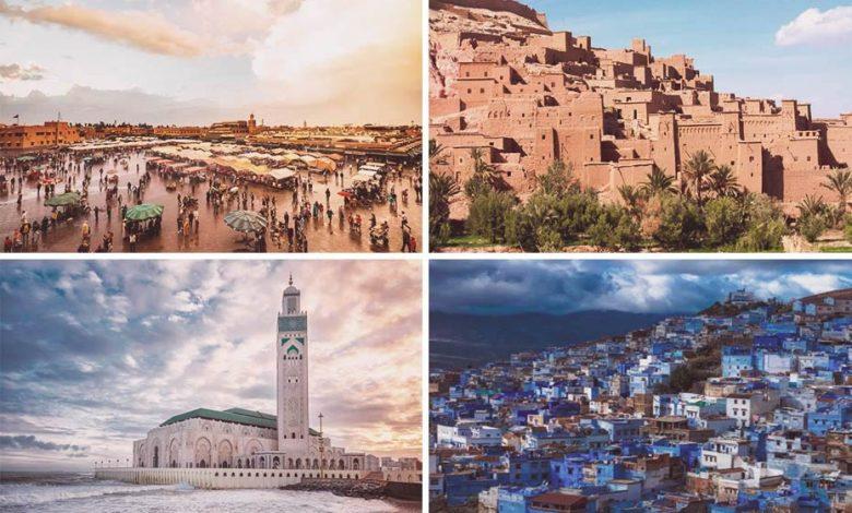 4 Moroccan cities: Marrakech, Ouarzazate, Casablanca, and Chefchaouen.