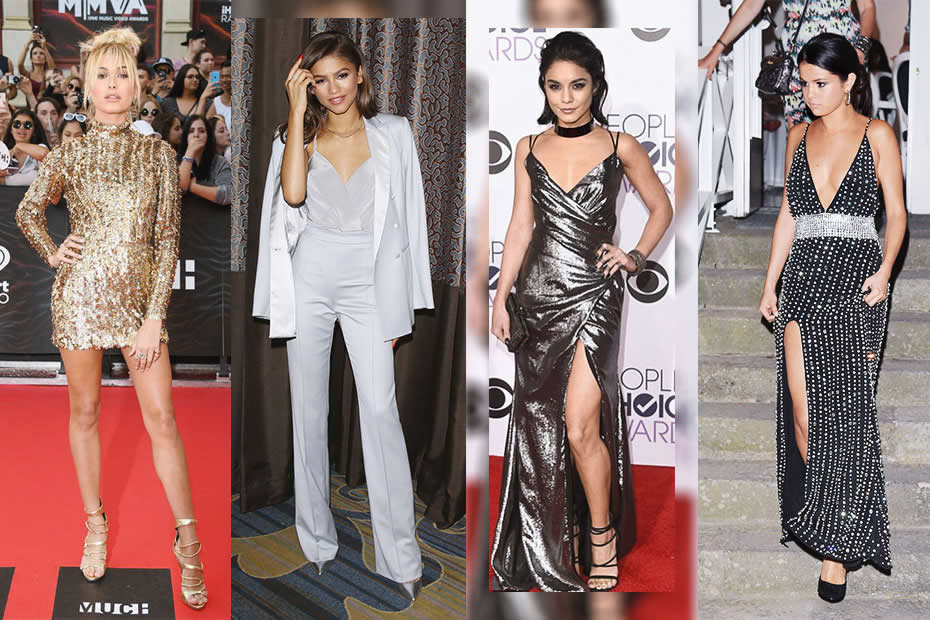 Hailey Baldwin, Zendaya,  Vanessa Hudgens and Selena Gomez wearing Kayat Design of Laila Aziz