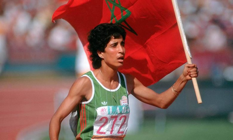 Nawal El Moutawakel, first Arab, African and Muslim woman to win an Olympic gold medal at the 1984 Olympic Games in Los Angeles