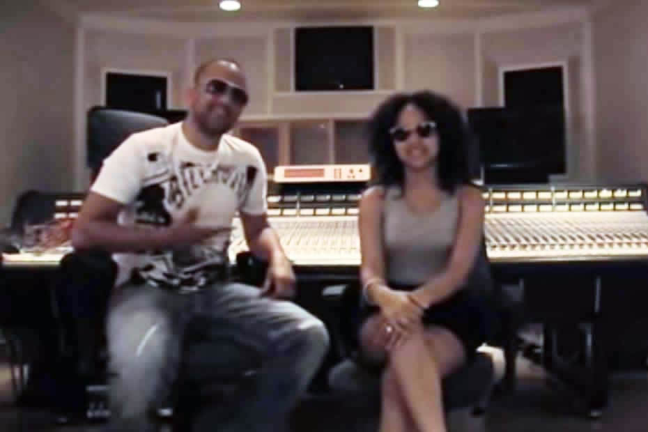 RedOne and Kat Deluna in a studio in stockholm