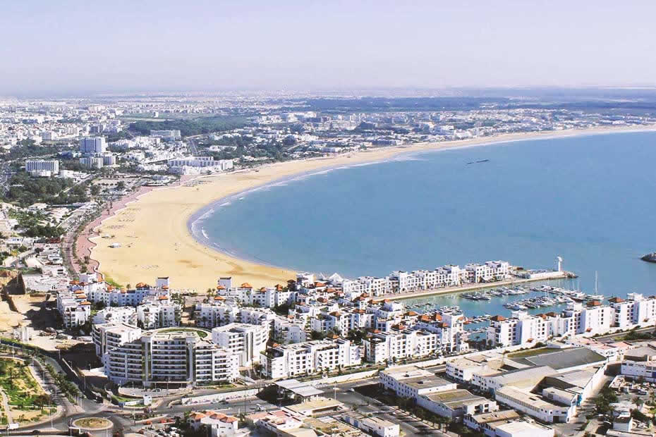 View of the beautiful Agadir beach and the marina from a height