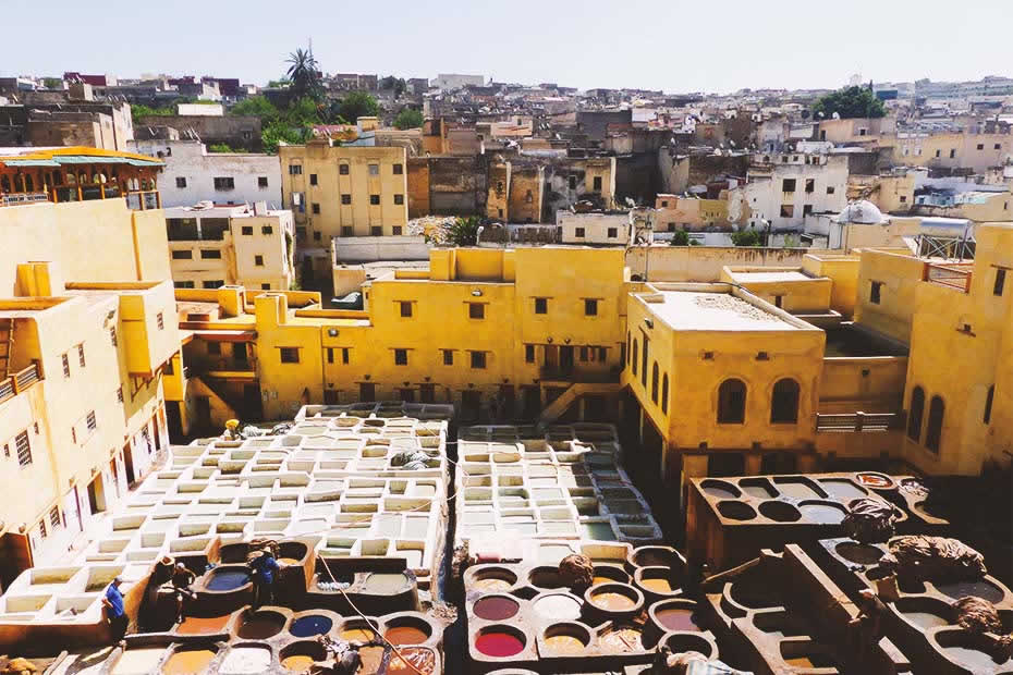 View of the famous tannery of Fez named Chouara