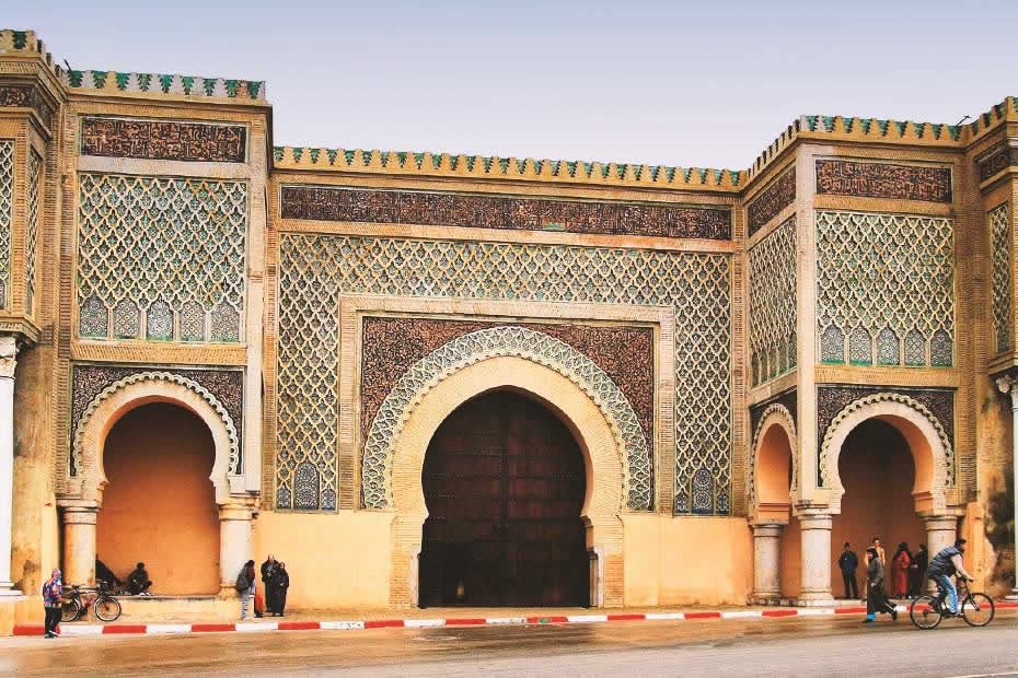The impressive Mansour Gate of the Old Town of Meknes in Morocco