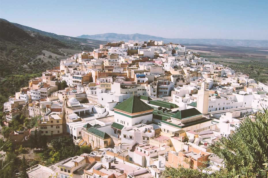 Beautiful view of Moulay Idriss or Moulay Idriss Zerhoun which is a town in northern Morocco, spread over two hills at the base of Mount Zerhoun.