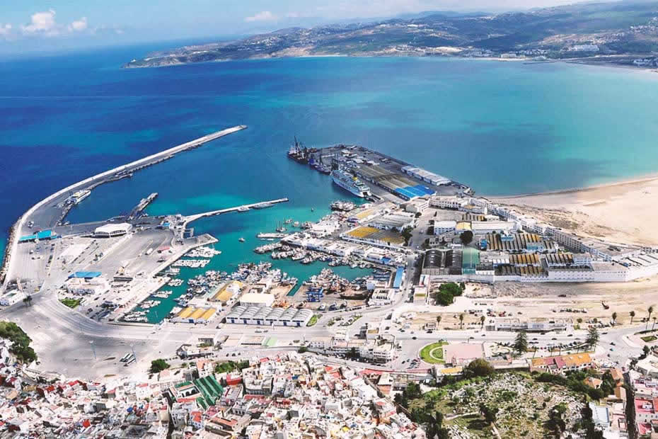 Amazing view of the Tangier port from a height, called the Port of Tanger Med