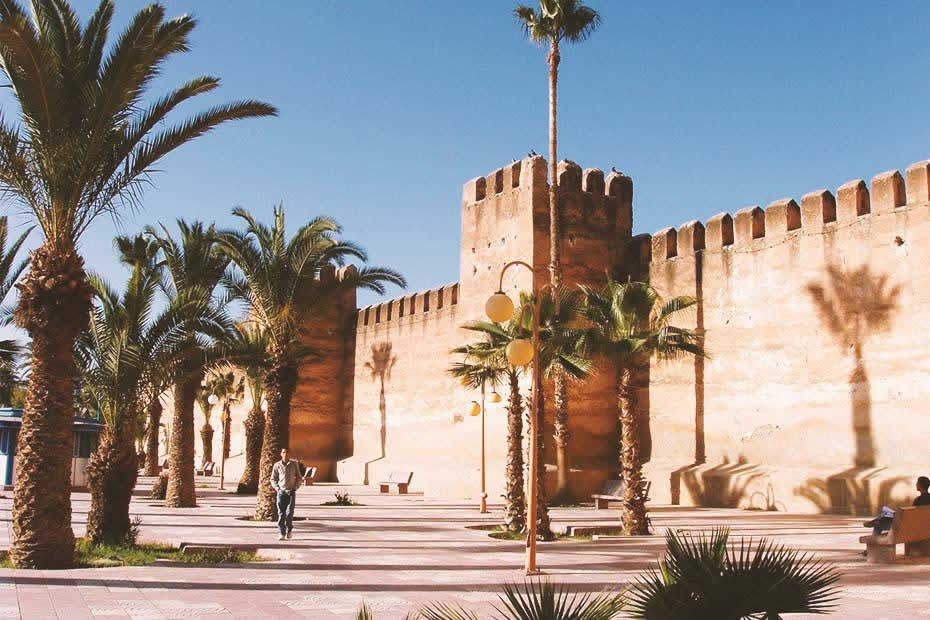 Beautiful street of Taroudant with palm trees