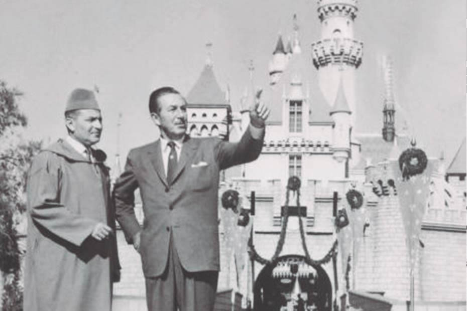 Moroccan King Mohammed V and Walter Elias Disney at Disney Land
