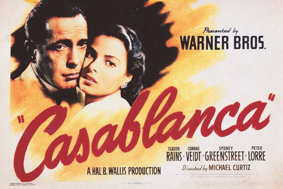 The american movie poster of Casablanca with Humphrey Bogart and Ingrid Bergman.
