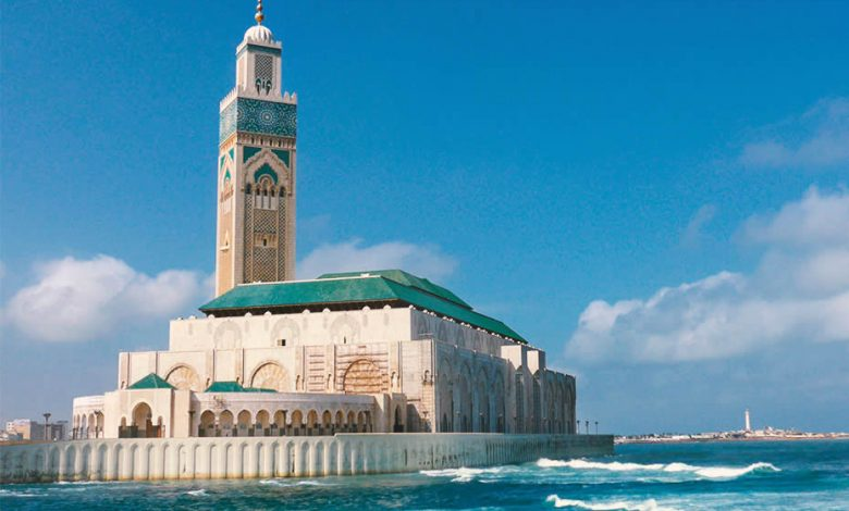 The Hassan II mosque of Morocco in Casablanca by the seaside
