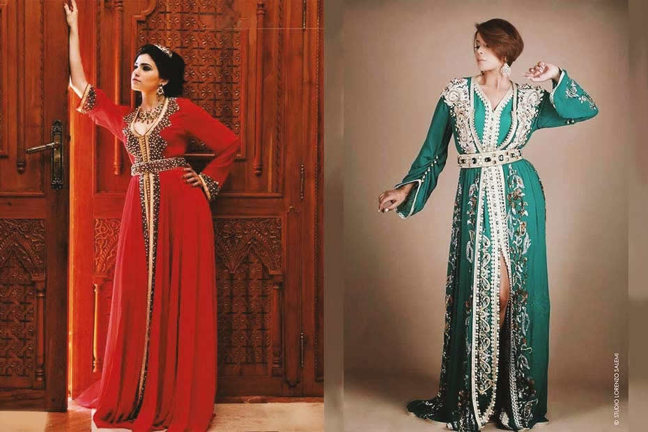 What do locals wear in Morocco: Two women wearing beautiful traditional Moroccan caftan.