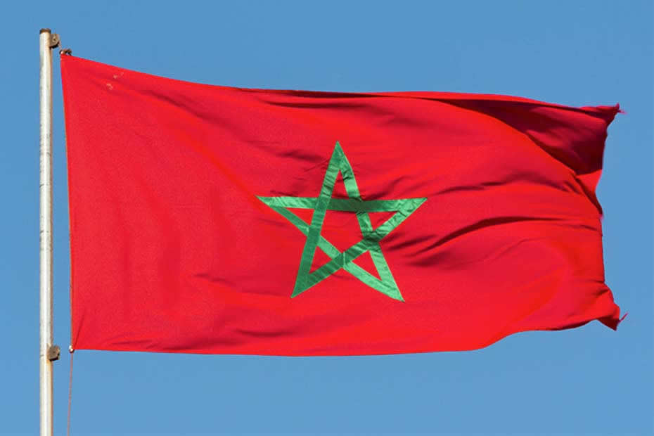 Where is located Morocco, Moroccan flag