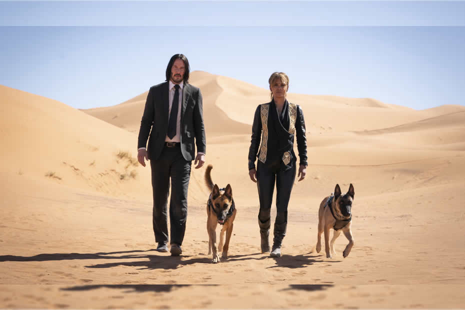 Keanu Reeves as John Wick and Halle Berry as Sofia in the John Wick Parabellum