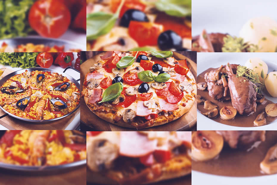 paella, pizza, chicken wine french cuisine, best food in europe