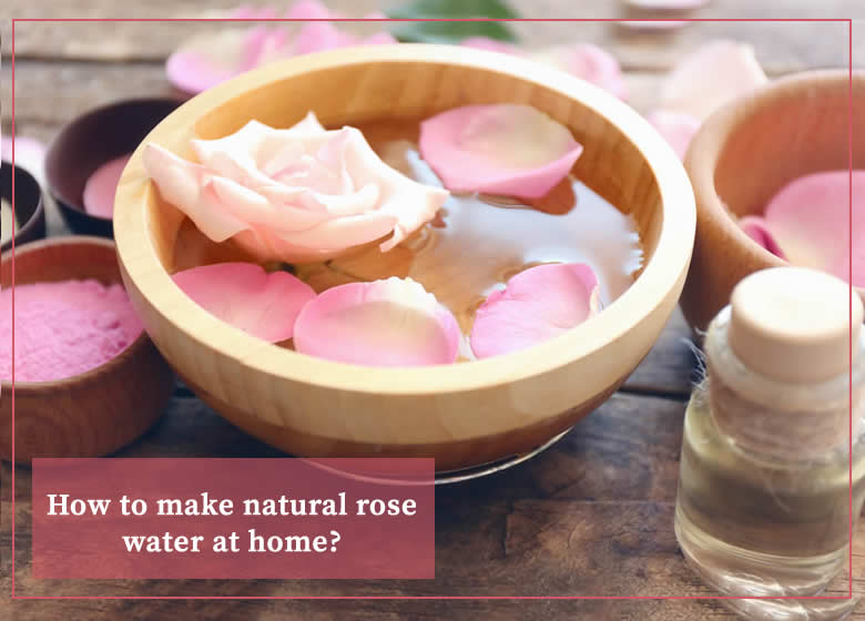 a bowl filled with pure natural homemade moroccan rose water and petal roses on top