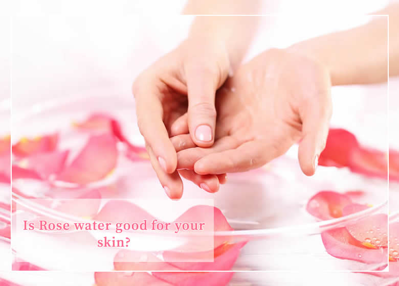 two hands putting moroccan rose water on skin