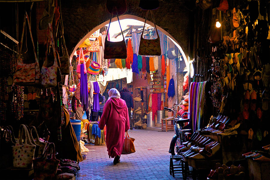 inside of a moroccan souk