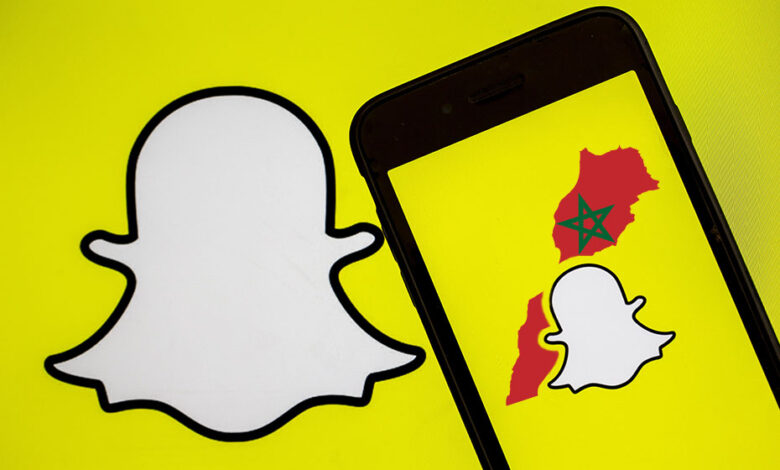 Snapchat logo with the Moroccan map -Is there snapchat in morocco.