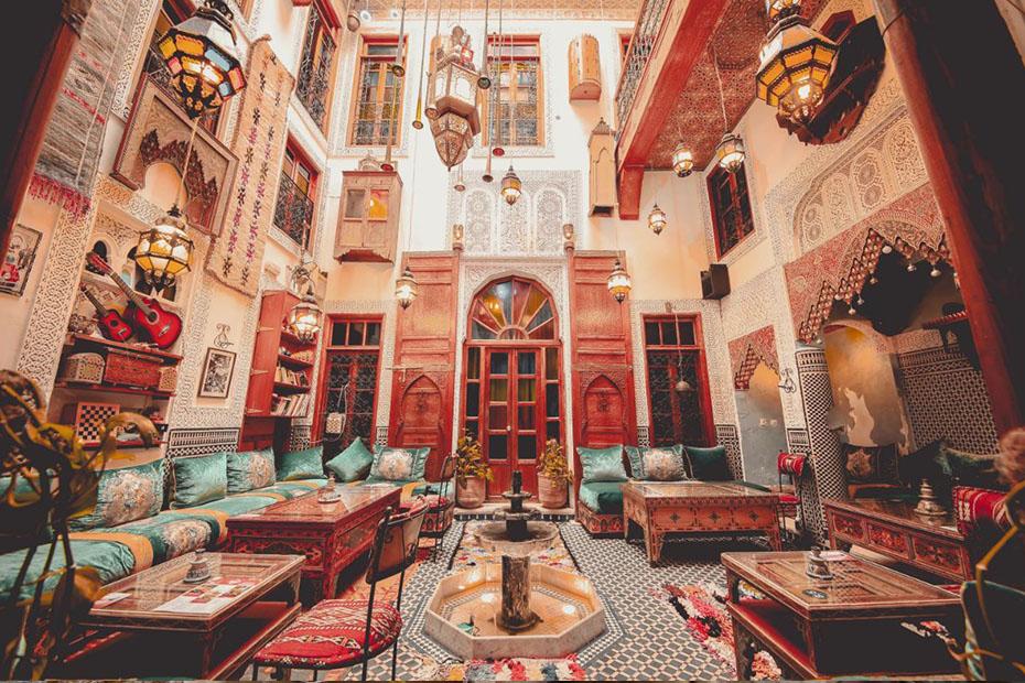 a luxurious inside of a riad